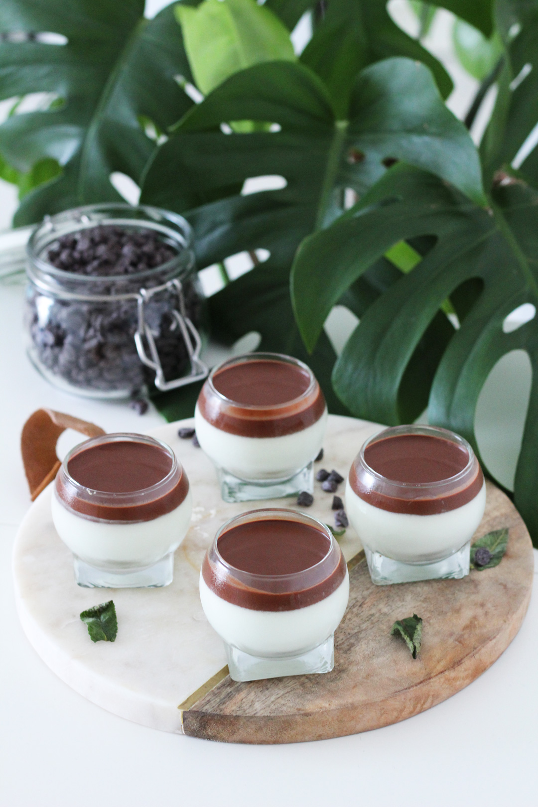 Panna cotta à la menthe et au chocolat