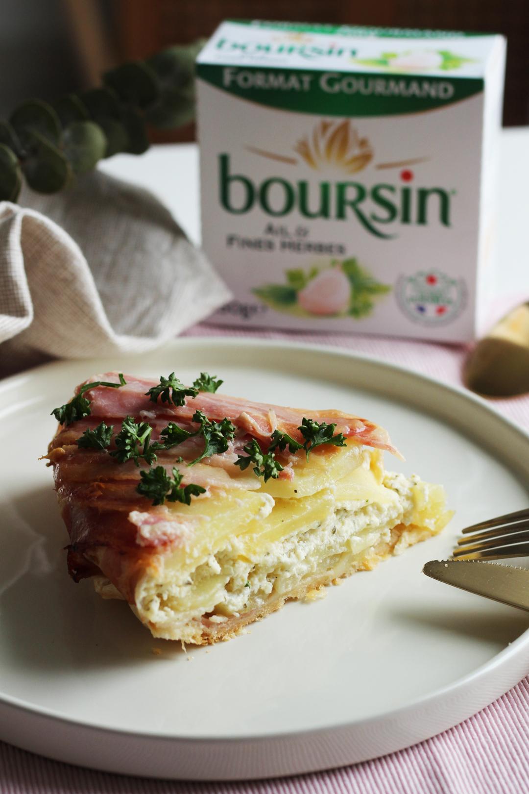 Tatin de pommes de terre, lard et Boursin®